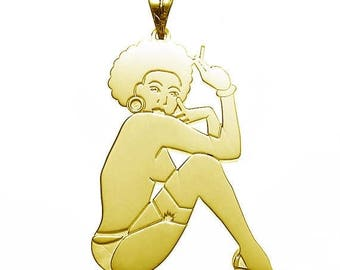 ON SALE Charm Pendant Afro Pinup Girl