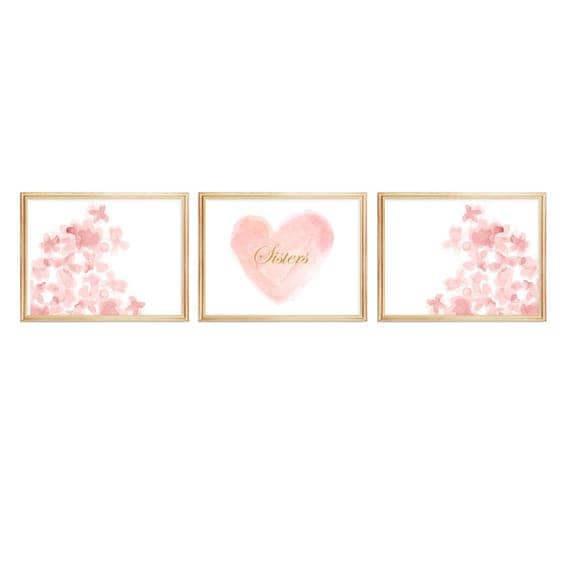 Sisters Prints in Blush and Gold, 8x10 Set of 3 Watercolor