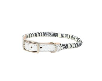 Cat Collar or Small Dog Collar - Grey & White