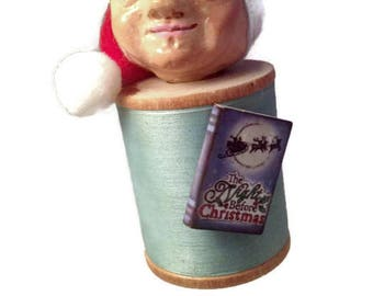 The Night Before Christmas hand sculpted ornament with vintage wood spool