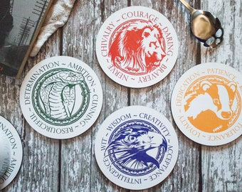 House Crest - Harry Potter - Hogwarts - Gryffindor - Slytherin - Ravenclaw - Hufflepuff - Set of Coasters
