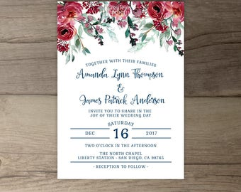 burgundy wedding invitations wedding invites etsy 2132