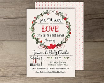 Valentines Baby Shower Invitations • Wreath Hearts xo • All you need is Love • printable