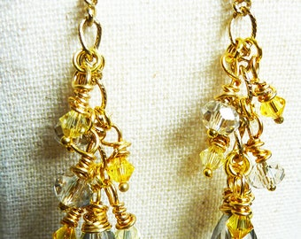 Smoky Grey Wire Wrapped Teardrop Crystal Cluster Earrings With Yellow Citrine and Silver Grey Swarovski Crystals