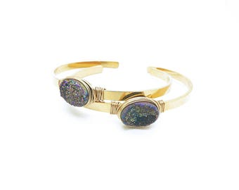 Druzy Cuff Bracelet, Stone Bracelet, Geode Bracelet, Stackable Bracelets, Gold Cuff Bracelet, Wire Wrapped Jewelry