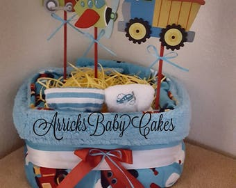 """The """"Ride Along"""" Square Baby Boy Diaper Cake"""