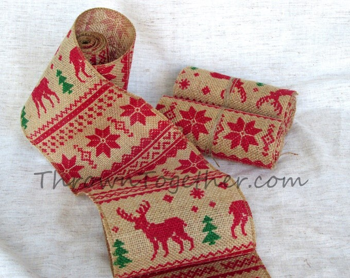 Reindeer Christmas Print Burlap Ribbon 5in. Wide Christmas Garland Christmas Decor Christmas Deer Burlap *Limited Quantity!!!* print varies