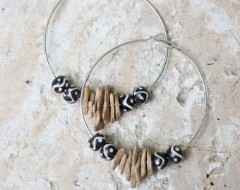 Large Beaded Hoop Earrings- Wood & Ceramic