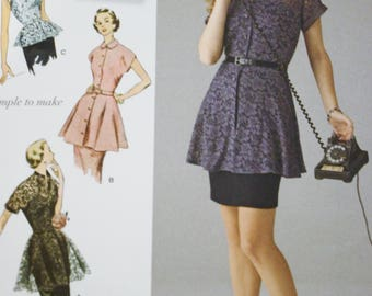 Womens Peplum Tunic and Blouse, Simplicity Sewing Pattern 1460, Size 14 16 18 20 22 Bust 36 to 44,  UnCut, Vintage 1950s Sewing Patterns