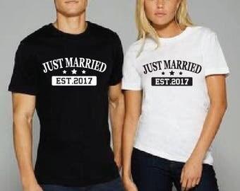 Just Married Custom Year Shirt - Wedding Honeymoon T-Shirt. Long Length Tee. Black, White, Grey