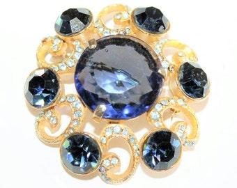 Dark Blue Rhinestone Diamante Gold Coloured Large Flower Vintage Brooch (c1960s) - Wedding