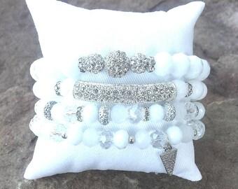 SPARKLE STACK- 4 Pc Silver Rhinestone Bar, White Jade Gemstone, Glitter Crystal Beads, Pave Accent Beads, & Charm Stretch Boho Bracelets