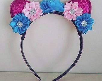 Hot Pink, Light Pink & Turquoise Cat Ears Sparkle Headband