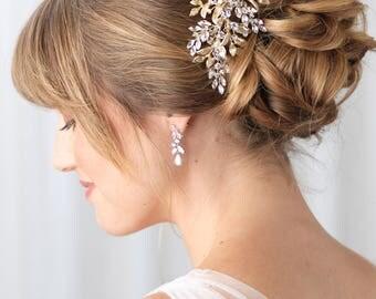 Gold Bridal Hair Clip, Rhinestone & Crystal Clip, Bridal Headpiece, Botanical Gold Hair Clip, Crystal Hair Comb,Wedding Headpiece ~TC-2310