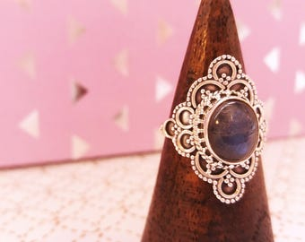 Opal silver ring - Vintage style jewelry victorial gothic boho jewels