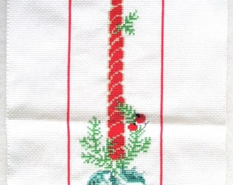 Vintage Completed Cross Stitch Merry Christmas Candle Bell Pull or Hanging