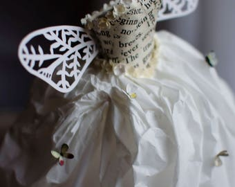 Fairy Paper Dress - Paper Sculpture - Miniature Paper Dress