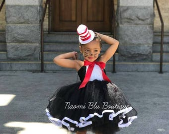 Dr. Suess inspired Embroidered Cat in the Hat Tutu dress costume. Great for Halloween and parties