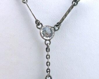 Art Deco Clesr Crystal Drop Necklace