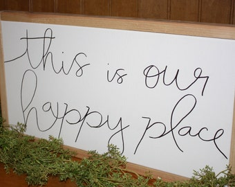 Happy Place - White Canvas with Wood Frame, Home Decor, Housewarming, Sign, Gift