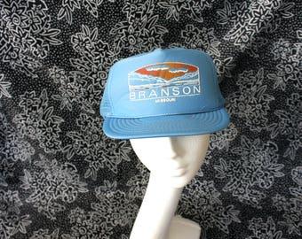 Branson Missouri Trucker Cap. Baby Blue 80s Retro Mesh Snapback Hat.  Vintage Baseball Cap.  Powder Branson Missouri Souvenir Hat Clothing