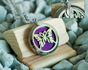 Stainless Steel Oil Diffuser Necklace - Butterfly - Add a Hand Stamped Initial Charm