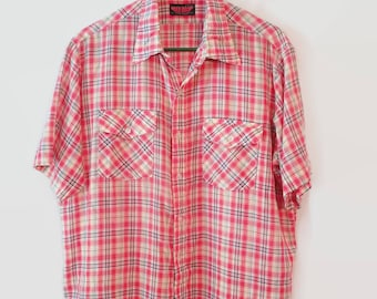 Vintage Button down shirt size Large L  red plaid