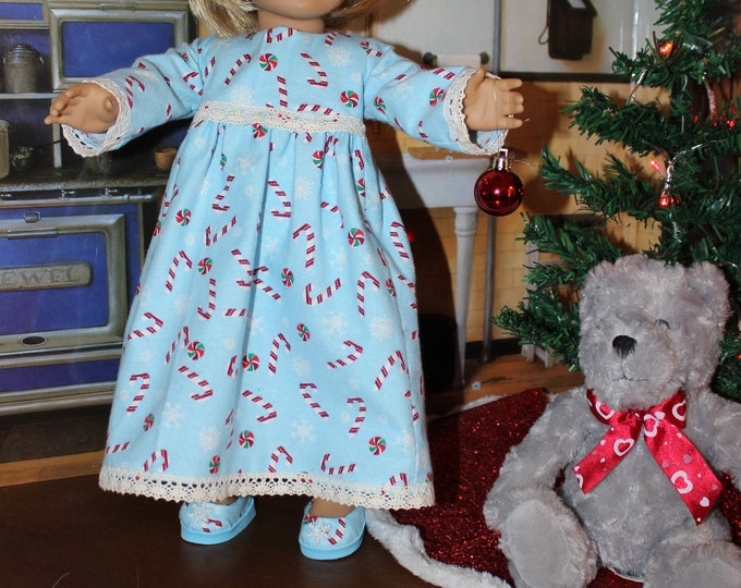 Sleepwear, Candy Cane Print Nightgown with Lace and Matching Slippers, Handmade to fit 18 inch Dolls like the American girl, FREE SHIPPING