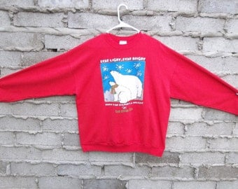 Vintage Sweatshirt San Diego Zoo Polar Bears 1990s XL Wild Life Beach Surf Hipster Pullover Sports Distressed Chill