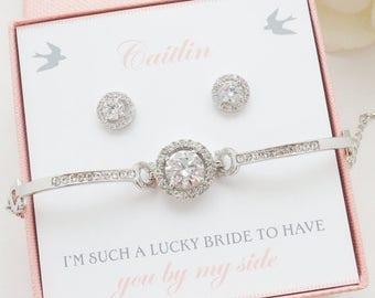 SALE Bridesmaid Jewelry Set 4 5 6 7 8, Bridesmaid Gift, Bridesmaid Earrings Bracelet Set, Personalized Bridesmaid Jewelry Set, Mother of Bri