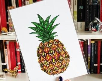 Pineapple Print - Giclee Print, Fruit Print, A5 Print, Nursery Decor, Pineapple Poster