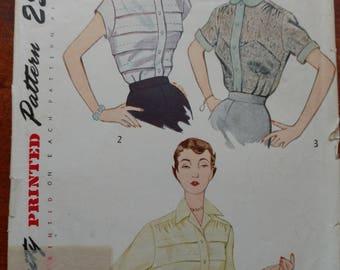 Vintage 1950 Simplicity Blouse Pattern Size 40 Bust 43 Hip #3358