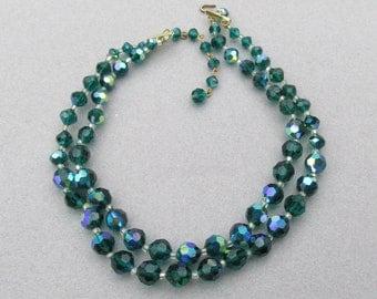1950's Vintage Swarovski Emerald Green Aurora Borealis Crystal Bead Double Strand Choker Necklace