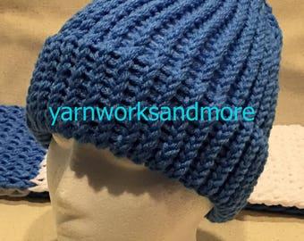 Blue Knit Hat, Winter Hat, Knit Hat, Loom Knit Hat, Blue Hat, Delft Blue Hat, Blue Beanie, Blue Knit Cap, Warm Hat, Gifts Under 20