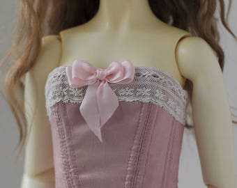 Dusty pink dupioni silk corset for BJD SD13 Girl