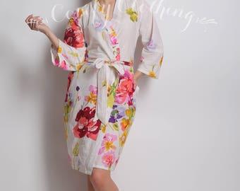 Bridesmaid Kimono, Floral Bridesmaid Robe, Boho Bridal Robe, White Floral Robe, Women Bathrobe, Bohemian Clothing, Kimono Gown, Gift For Her