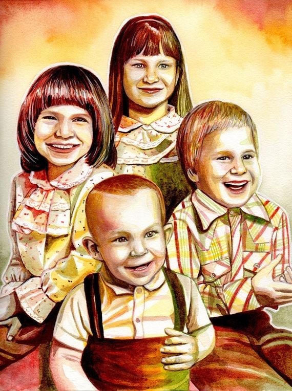 CHILDREN CUSTOM PORTRAIT painting from photo, custom portrait painting of children, 4 kids personalized portrait illustration, sepia