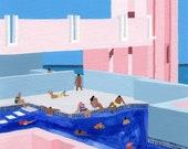 """Original painting """"Spain Pool"""" by Helo Birdie - swimming - pool - architecture - Spain - original art - painting - pastel pink"""