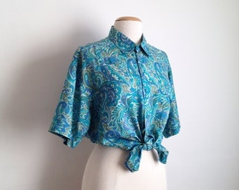 vintage paisley shirt silk button up shirt paisley print silk blouse mens floral shirt short sleeve collared shirt turquoise 90s oversized
