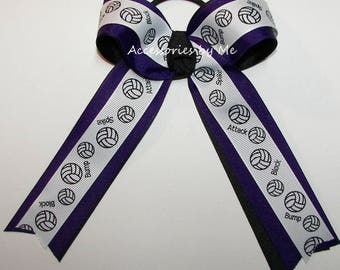Bulk Price, Volleyball Bow, Purple Black Ribbon Ponytail Holder Ties, Hair Streamers, Volleyball Team Bow, School Spirit, Wholesale Discount