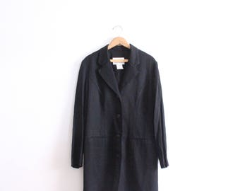 Minimal Black 90s Long Blazer