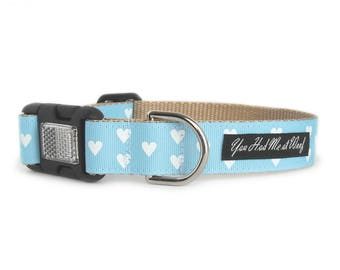 Hearts Dog Collar, Can be Personalized, Dog Collar for Girls or Boys, Valentines Day, Big Dog Collar- Be My Valentine in Light Blue