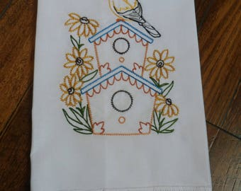 White Cotton Lace Trimmed Embroidered Guest Towel GOLDFINCH and BIRDHOUSE Sunflowers