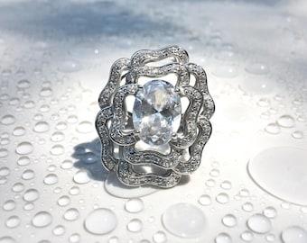 Vintage CZ Silver Filigree Ring, Vintage Floral Rose Ring in Sterling Silver, Roses Flower Jewelry