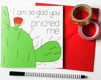 Funny Valentines day card, Rude Cactus love card, Dirty Valentine card, Naughty boyfriend card, Cactus pun Anniversary card, Husband card