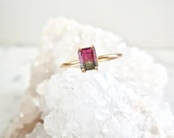 Tourmaline Ring -  Watermelon Tourmaline Ring, Handmade, Delicate, 14k Gold, Watermelon Tourmaline, Solitaire Tourmaline Ring, Bi Color
