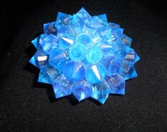 Vintage Blue Starburst/Floral/Sunburst Pin/Brooch Made in Hong Kong