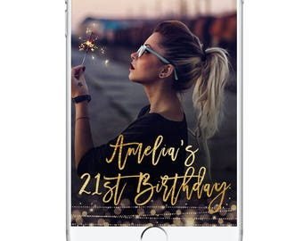 Birthday Snapchat Geofilter, 21st Birthday Geofilter, Gold Sparkly Club Glamorous Geofilter, Light Effect Bday Party Accessories 19th