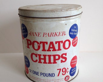 Vintage Jane Parkers Potato Chip Tin / A and P Grocery Stores 1960's