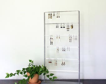 Tall, Multi-leveled, Steel Earring and Bracelet Stand - Simple, Minimal, Jewelry Display